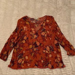 AMERICAN EAGLE red/orange floral blouse